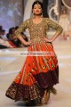 AK7627 International Orange Lava Pink Orange Dark Tyrian Purple Crinkle Chiffon Raw Silk Banarasi Jamawar Anarkali Dress