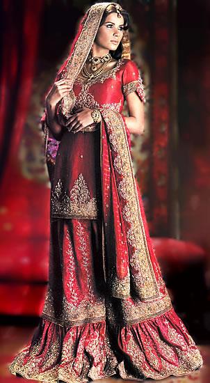 Bw6880 American Rose Gharara Pakistani Bridal Wears Wedding Dresses