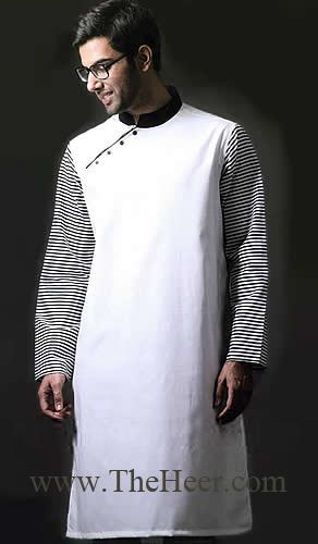 KT730 Black And White Cotton Kurta Hand Embroidered Kurta, Groom ...