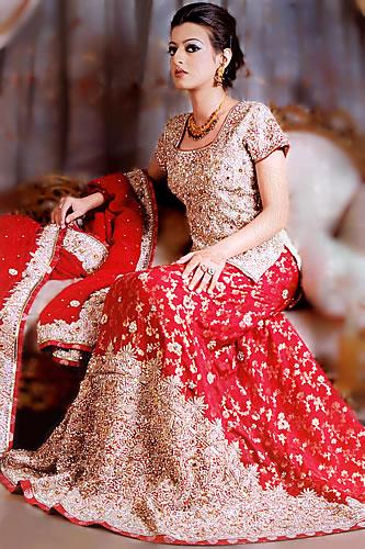Bw6845 Beige Lust Red Lehenga Colourful Pakistani Lehenga