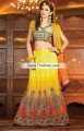 SC6819 Light Medium Spring Bud Mikado Yellow Orange Raw Silk Crinkle Chiffon Lehenga