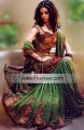 BW112 Gold & Dark Forest Green Gharara