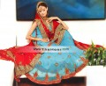 BW233 Turquoise & Red Gharara