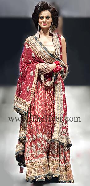Bw7453 Deep Carmine Banarsi Jamawar Lehenga Bridal Sari Blouse