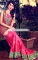 MX6813 Carmine Pink Brilliant Rose Crinkle Chiffon Banarasi Jamawar Maxi