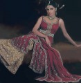 BW6692 Dark Ecru And Burgundy Banarsi jamawar Lehenga
