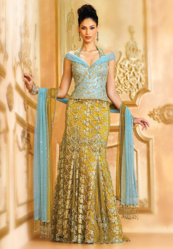 Image result for green and blue brocade lehenga