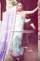 EW7697 Sky Blue Lavender Crinkle Chiffon Raw Silk Evening Dress