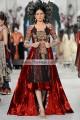 EW7608 Maroon Lava Red Black Crinkle Chiffon Velvet Banarasi Jamawar Raw Silk Evening Dress