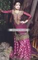SC6805 Pansy Purple Medium Red Violet Crinkle Chiffon Banarasi Jamawar Lehenga