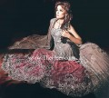 BW6454 Light Rose Taupe & Dark Terra Cotta Crinkle Chiffon & Banarasi Jamawar Lehenga