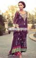 PW6832 Byzantium Royal Fuchsia Crinkle Chiffon Banarasi Jamawar Party Dress