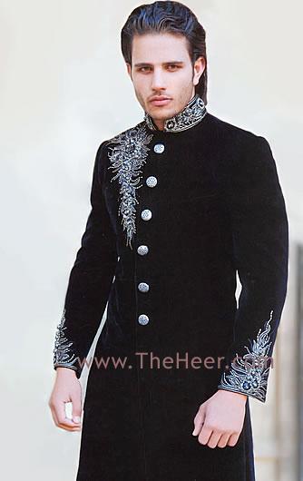 Sw534 Black Sherwani Designer Sherwani Amir Adnan