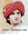 TB451 Dark Red Banarsi Jamawar Turban