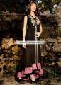 AK6839 Black Pink Crinkle Chiffon Crepe Silk Anarkali
