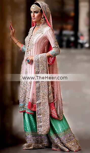 Bw5982 pink dark mountain meadow banarasi crinkle chiffon for Indian wedding dresses new york