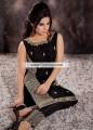 PW6835 Black Crinkle Chiffon Raw Silk Party Dress