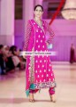 AK7538 Hollywood Cerise Crinkle Chiffon Crepe Silk Angrakha Dress