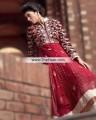 AK7587 Lava Red Rosewood Banarasi Crinkle Chiffon Velvet Anarkali