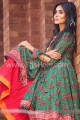 MSW094 Green & Red Cotton Lawn 3 Piece Stitched Suit