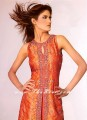 PW669 Orange chiffon Long Kameez