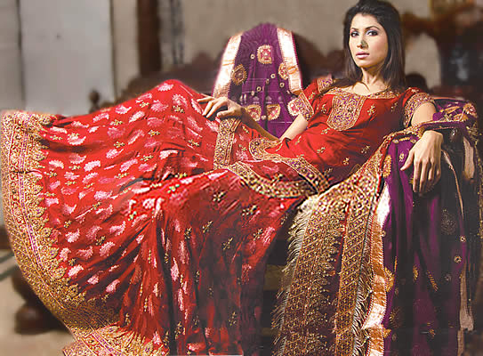 Bw8505 deep red purple gharara pakistani indian for Indian wedding dresses new york