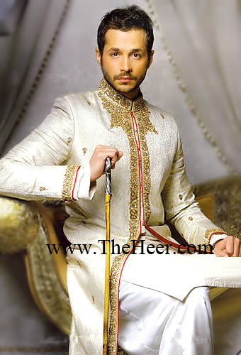 SW879 White Off Sherwani Mens Designers Grooms Embellished Pakistan And India Bright Shades