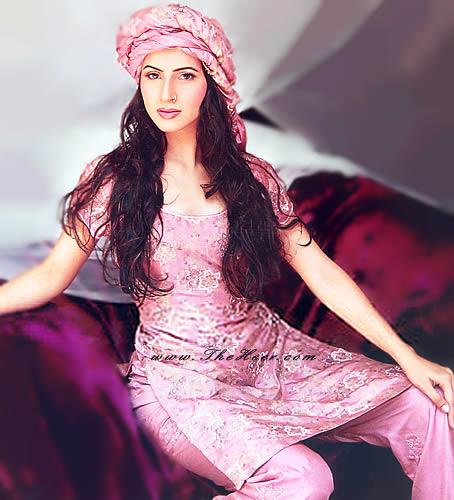 PW8907 Cameo Pink Katan Silk Shalwar Kameez Cameo Pink