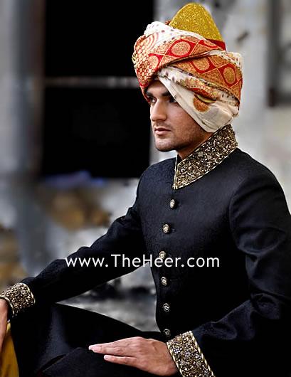 sw520 black jamawar sherwani designer sherwani for groom