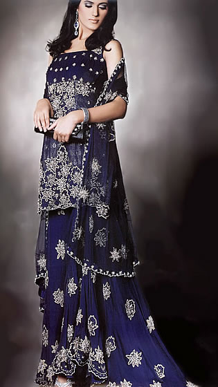BW6785 Dark Sapphire Sharara Traditional Middle Eastern