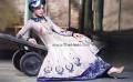 AK7855 Languid Lavender Raw Silk Crinkle Chiffon Anarkali Lehenga