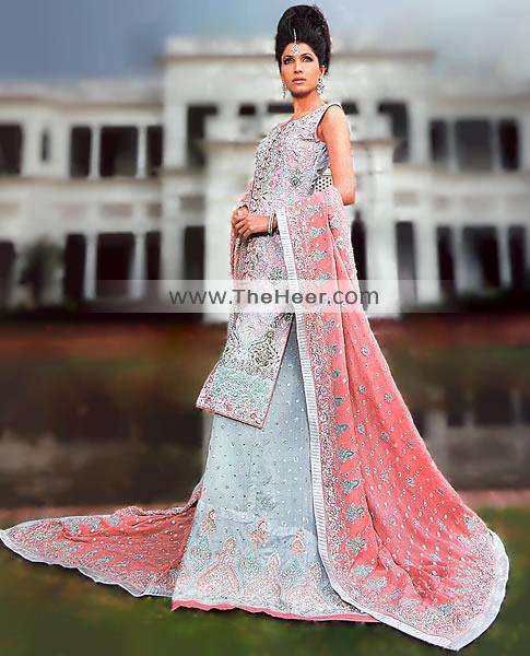 BW6754 Pastel Blue Lehenga Pakistani Designer Bridal Wear