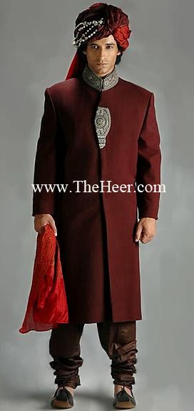 Sw608 Dark Red Sherwani Get The Best Sherwani Online At