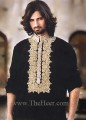 KT747 Black Linen Fabric Kurta