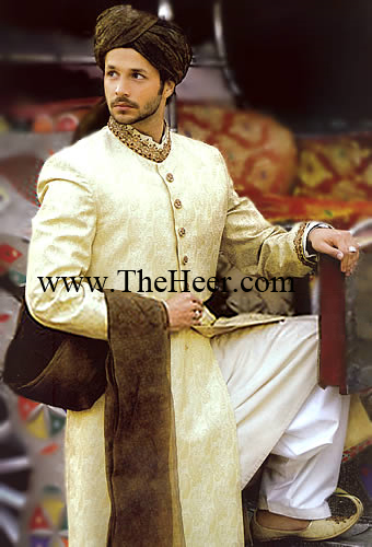 SW877 White Off Sherwani Pakistani Mens Shalwar Kameez Designer Salwar Pakistan Bright Shades