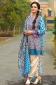 GAW-Blue 3 Pc Printed Lawn Stiched Suit