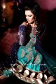AK6486 Tyrian Purple, Tiffany Blue, Dark Persian Indigo and Royal Purple Crincle Chiffon Anarkali Style