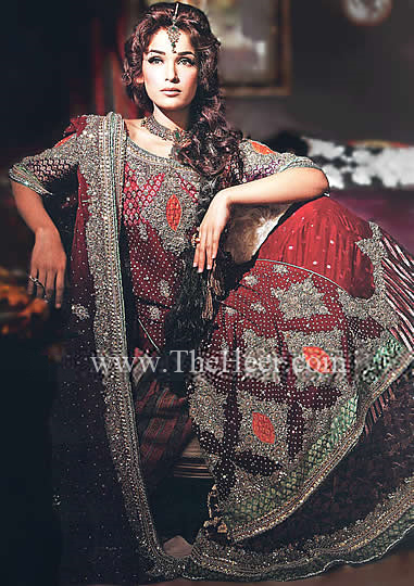 debd584ab7 BW6455 Dark Red & Black Crinkle Chiffon & Banarasi Jamawar Lehenga ...