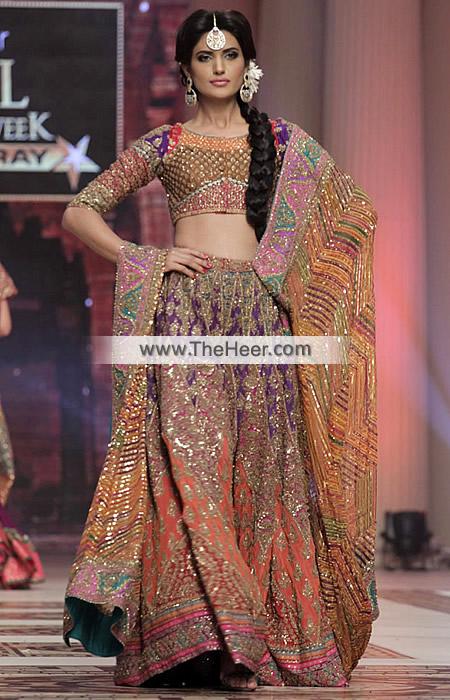 BW6039 Multi Color Banarasi Jamawar Crinkle Chiffon Lehenga