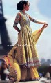 SC6422 Metallic Gold Banarasi Crinkle Chiffon Anarkali Style