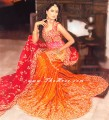 BW241 Deep Red Pink & Burnt Orange Lehenga