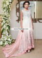AK7389 Off White Light Pink Crinkle Chiffon Velvet Court Train Anarkali