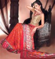 BW271 Coffee & Orange Red Lehenga
