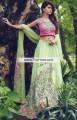 SC6776 Cerise Pink Tea Green Self Design Jamawar Crinkle Chiffon Lehenga