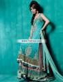 BW7328 Tiffany Blue Chocolate Brown Crinkle Chiffon Banarasi Jamawar Lehenga