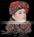 TB4981 Black and Red Turban