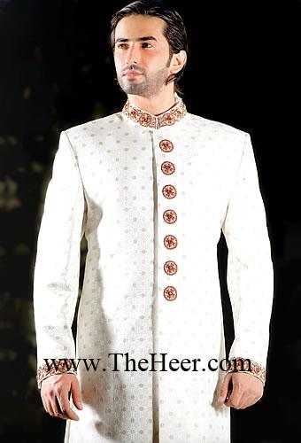 SW569 White Sherwani Designer Groom Pakistani Styles Black Bright Shades