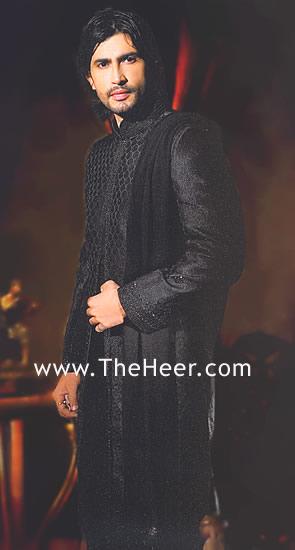 Sw539 Black Sherwani Designer Sherwani Groom Sherwani