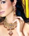 JW088 Capri Blue Gemstones Ruby And Fern Green Zircons Necklace Party Jewellery