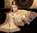 BW7215 Earth Yellow Fire Red Crinkle Chiffon Banarasi Jamawar Lehenga